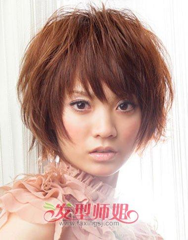 胖人圆脸斜刘海蓬松短发-圆脸短发发型 胖人圆脸适合的最新短发型 发