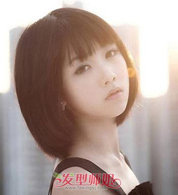 椭圆脸型适合的刘海_适合13岁初中妹的圆脸短发发型 韩国圆脸短发发型图片(4)_发型师姐