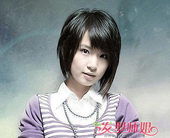 适合13岁初中妹的圆脸短发发型 韩国圆脸短发发型图片图片