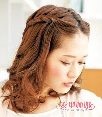 方脸中分怎么编刘海 方脸刘海编发发型图片 发型师姐图片