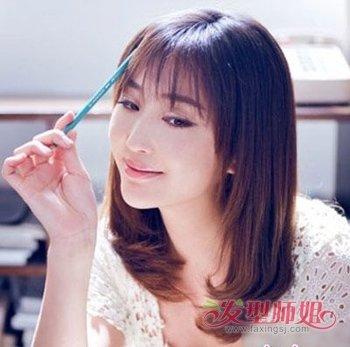 二十五岁四方脸中长头发适合什么样的发型 方脸时尚发型设计(3)图片