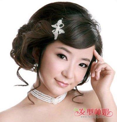 矮个子圆脸适合什么新娘发型 矮胖圆脸简单盘发发型图片