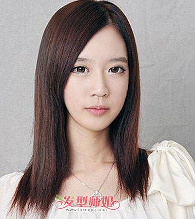 方脸中长发直发发型 方脸女孩适合的长直发发型