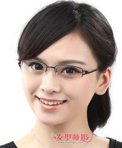 我凸额头高大圆脸戴眼镜总是齐刘海想留中分可以么适合什么发型图片
