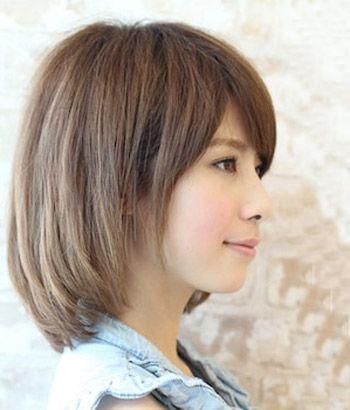 圆脸斜刘海齐肩短碎发发型图片