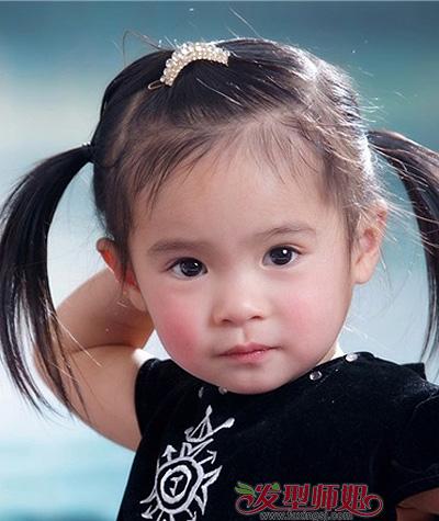 是一款伴随许多女孩子童年的经典发型,造型师将小女孩发丝分区,扎成