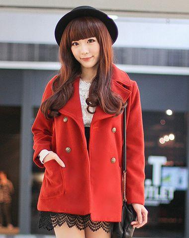 橘红色毛呢外套怎么搭配