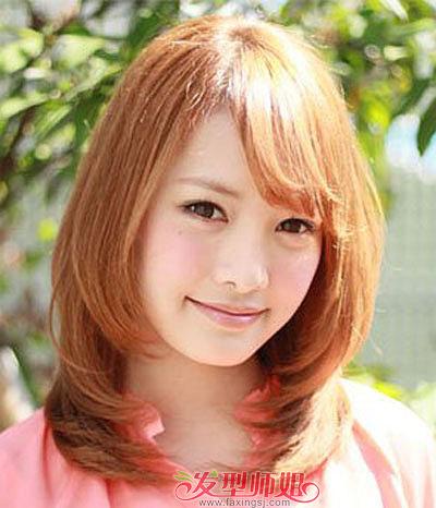 方形脸适合什么发型 大方脸蒜头鼻的女生发型(4)  这款方脸女生斜刘海