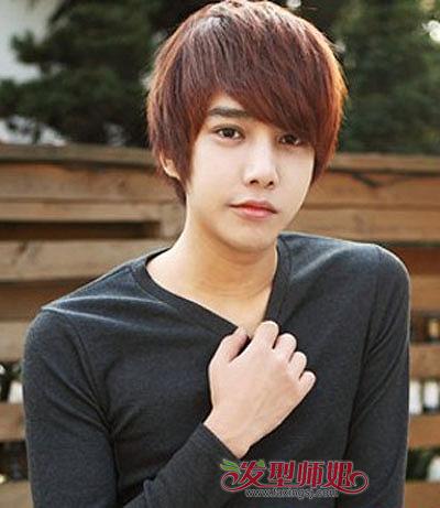 男士漂染发型绯红色 男人染太阳红头发图片(2)_发型图片