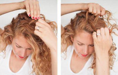 长发的盘发花苞头的步骤 盘花苞头的扎法图解图片