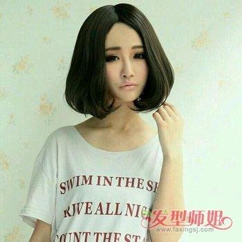 圆脸中分直发发型图片 中分圆脸直发短发发型 发型师姐图片