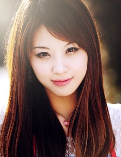 圆脸长发直发发型图片 圆脸黑色长直发发型(4)