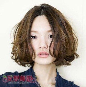 沙宣时尚短发烫发发型图片