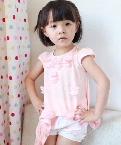 小女孩弧线型刘海蘑菇头短发