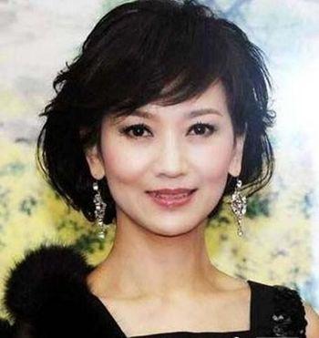 中年妇女圆脸中长发盘发发型 中年胖女人圆脸盘发发型图片