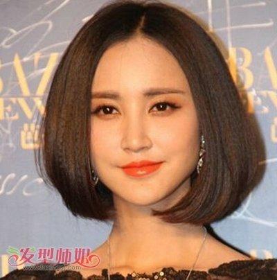 圆脸中分标准短发发型烫发时尚钢图片