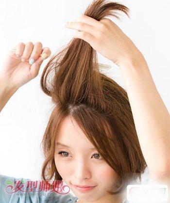 方脸短发夏天怎么扎头发 方圆脸短发扎头发的方法图解