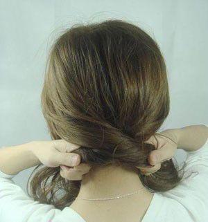 简单花苞头盘发图解 最简单的盘发花苞头(2)图片