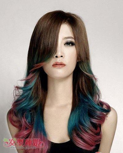 长头发染渐变色造型设计