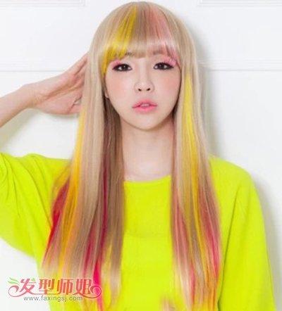 长头发染渐变色造型设计 女生渐变色染发发型图片(2)图片