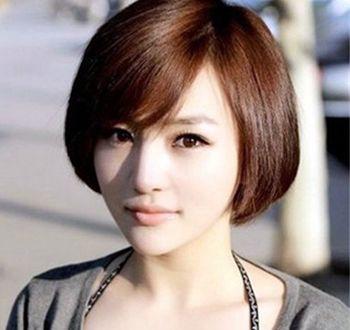 女孩胖脸超短发发型图片(2)  清新范儿十足的一款短发发型设计,侧分的图片