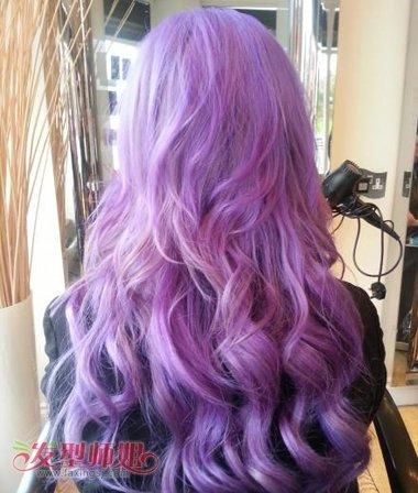 中长发怎么设计挑染 长发挑染紫色发型 发型师姐图片