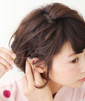 发型diy 短发扎发 >> 国字脸头发少热天怎样弄头发有气质的方法(4)图片