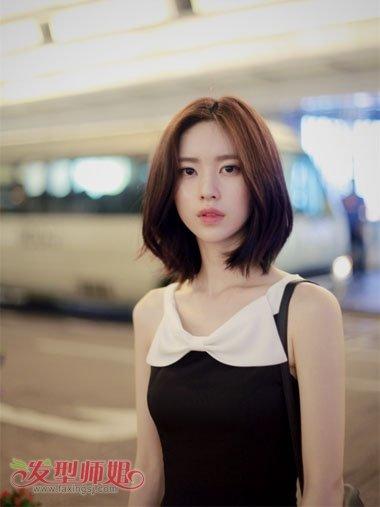 胖圆脸中短发直发型 胖圆脸适合的短发型图片(3)图片