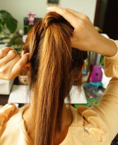 如何扎长发丸子头 丸子头的扎法图解(3)