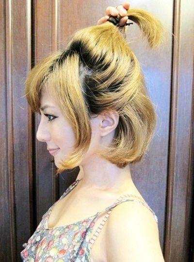 烫了头发怎样做丸子头好看 短头发丸子头扎法图解图片