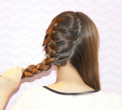 两个辫子的发型编发图解