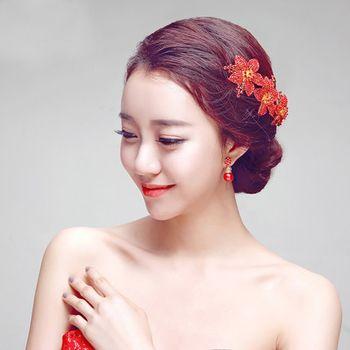 中短发新娘盘发发型 短头发新娘带红头花盘发型图片(3图片