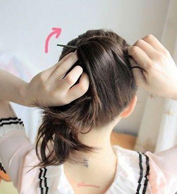 中短头发如何用盘发器盘发