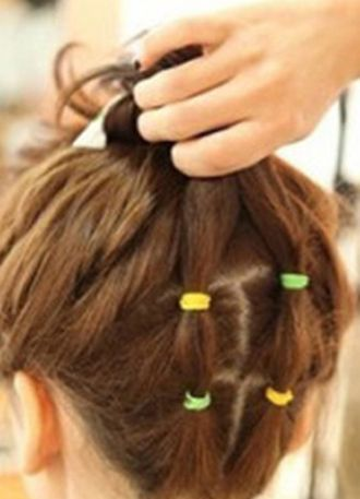 超短发丸子头的扎法图解 短发丸子头扎法步骤(7)