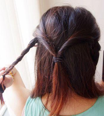 2016适合学生要扎的流行发型 学生中长发发型扎法(2)图片