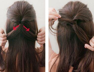 韩式简单盘发发型扎法 长直发盘发发型图解(2)