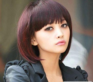 齐刘海短发适合什么脸型 显短脸的齐刘海发型图片图片