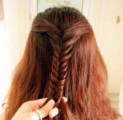 扇形发型编法 夏季长发编扎发型图解(3)