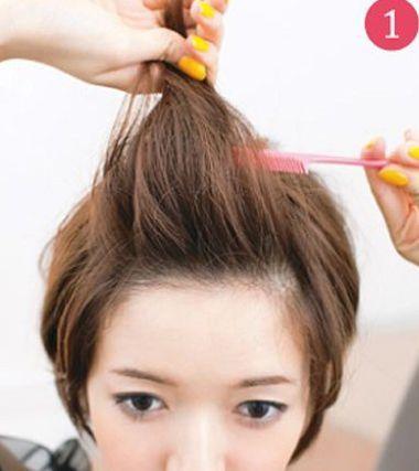 没有刘海的短发沙宣怎么扎起来步骤(2)图片