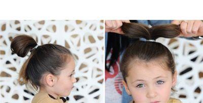 发型设计 儿童发型 >> 小女孩舞台中短发盘头 适合跳舞的盘发图解图片