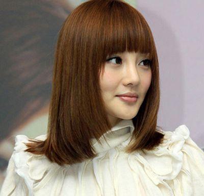 中长梨花直发发型 中长尾齐直梨花发型(3)图片