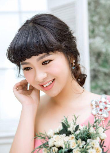 有齐刘海的新娘发型 2016最新款新娘发型图片