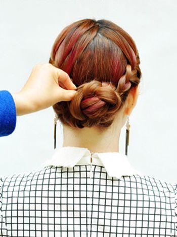 中年人盘头发型步骤 中年妇女盘发型教程(4)图片