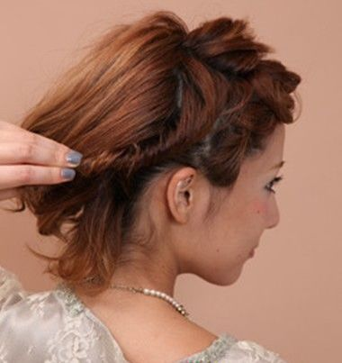 短发的新娘头怎么盘 短发新娘盘发图解(7)图片