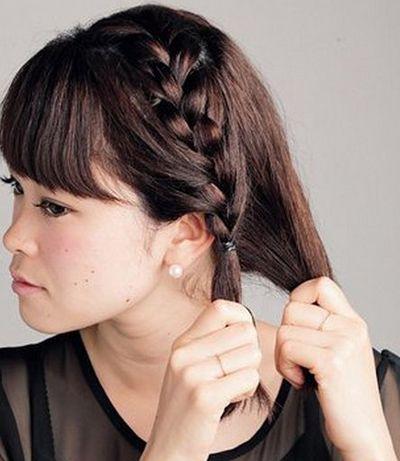 短发怎么扎好看齐刘海 齐刘海短发编发扎法图片