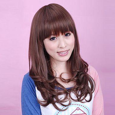 齐刘海中长梨花头-适合奔三女孩的齐刘海发型图片 齐刘海中长发卷发