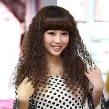 中长发辫子烫发型图片