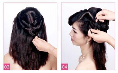 新娘盘发如何打理头发 新娘中长发盘头发造型图解图片