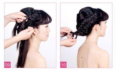 新娘盘发如何打理头发 新娘中长发盘头发造型图解(4)图片