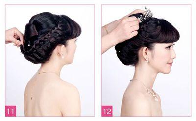新娘盘发如何打理头发 新娘中长发盘头发造型图解(5)图片